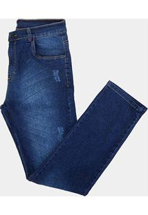 Calça Jeans Tbt Destroyed Used Plus Size Masculina - Masculino-Azul
