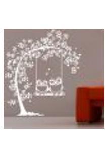 Adesivo De Parede Árvore Casal De Coruja - G 60X68Cm