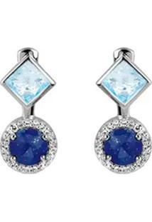 Par De Brincos Com Lapis Lazuli & Topázio- Prata & Azul Vivara