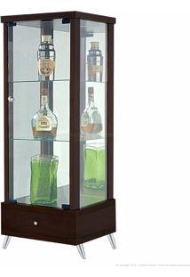 Cristaleira 1 Porta De Vidro Com Espelho E Pés Palito Onix 100% Mdf 1 Gaveta Imbuia - Móveis Forini