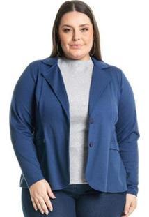 Blazer Plus Size Ponta Roma Clássico Miss Masy Plus Feminino - Feminino-Azul