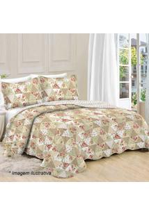 Conjunto De Colcha Patchwork Floral Casal- Bege Escuro &Camesa