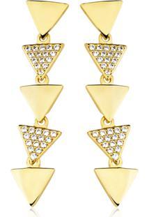 Brinco Toque De Joia Triângulo Cascata Com Zircônia Ouro Amarelo