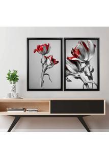 Quadro Love Decor Com Moldura Chanfrada Flores Vermelhas Preto - Grande