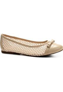 Sapatilha Couro Shoestock Com Crochê Feminina - Feminino-Off White