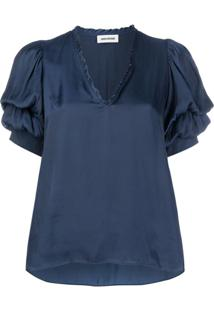 Zadig&Voltaire V-Neck Loose Fit Top - Azul