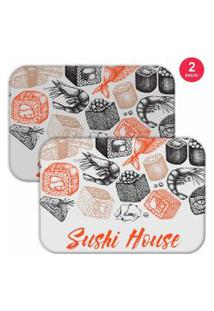 Jogo Americano Love Decor Sushi House Branco/Laranja