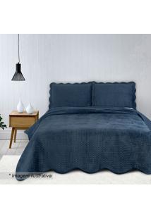 Conjunto De Colcha Velvet King Size- Azul Marinho- 3Camesa