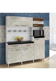 Armário De Cozinha 6 Portas 2 Gavetas Arte Móveis Nevada/Cacau
