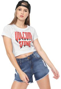 Camiseta Cropped Volcom Drama Shift Branca