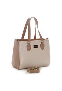 Bolsa Feminina Bicolor Santorini Handbag Nude/Creme