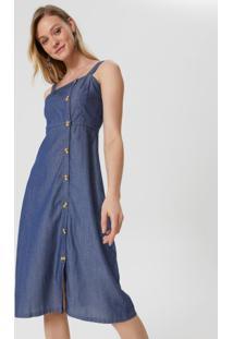Vestido Midi Jeans Abotoamento Lateral