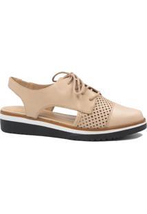 Sapato Zariff Shoes Oxford Vazado Nude
