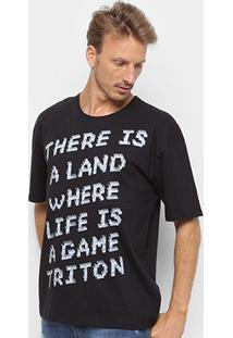 Camiseta Triton There Is A Land Masculina - Masculino-Preto