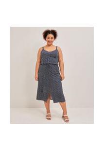 Vestido Midi Estampa Geométrica Com Botões Curve & Plus Size | Ashua Curve E Plus Size | Azul | Eg