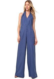 Macacã£O Frente ÚNica Linho Lez A Lez Pantalona Botãµes Azul - Azul - Feminino - Viscose - Dafiti