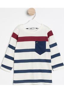 Camiseta Listrada Com Bolso - Off White & Azul Marinho