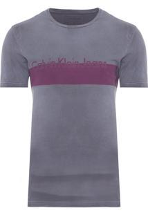 Camiseta Masculina Faixa Logo E Jato Barras - Cinza
