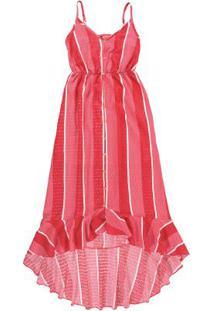 Vestido Vermelho Estampado Assimétrico Enfim