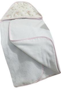 Toalha De Banho Laura Baby C/Capuz Estampada Nervura Rosa