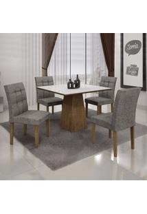 Conjunto Sala De Jantar Mesa Tampo Mdf/Vidro 4 Cadeiras Itália Leifer Ypê/Branco/Linho Cinza