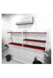 Estante Industrial Escritório Aço Cor Branco 180X30X68Cm Cxlxa Cor Mdf Vermelho Modelo Ind38Vres