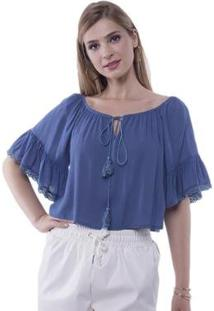 Blusa Cropped Ombro A Ombro Babados Pop Me Feminina - Feminino-Azul