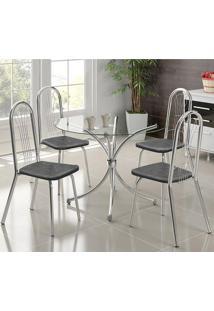 Mesa 375 Cromada Com 4 Cadeiras 182 Fantasia Preto Carraro