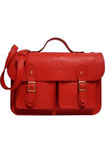 Bolsa Line Store Leather Satchel Pockets Grande Couro Vermelho. - Kanui