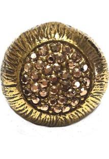 Anel Armazem Rr Bijoux Cristal Swarovski Ouro Velho