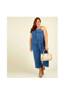 Macacão Plus Size Feminino Jeans Alças Finas Cambos Premium