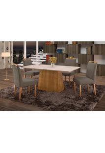 Conjunto De Mesa De Jantar Com 6 Cadeiras E Tampo De Madeira Maciça Turquia Iii Suede Grafite E Off White