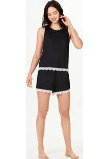 Pijama Feminino Alças Largas Com Renda