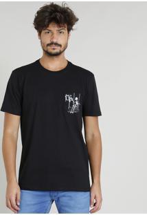 Camiseta Masculina Com Bolso Estampado De Esqueleto Manga Curta Decote Careca Preta