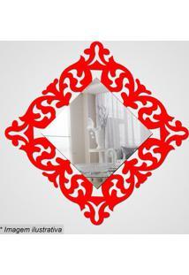 Espelho Arabesco- Espelhado & Vermelho- 28X28X5Cm