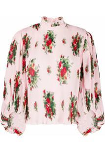 Ganni Blusa Plissada Com Estampa Floral - Rosa