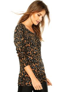 Suéter Ellus Leopard Caramelo/Preto