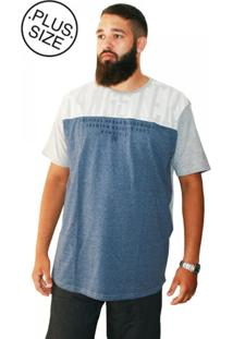 Camiseta Plus Size Gangster Long Line Azul