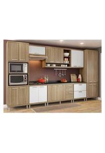 Cozinha Completa Multimóveis Com 9 Peças Sicília 5833 Argila/Branco