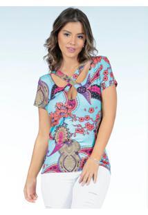Blusa Floral Cashmere Com Tiras No Decote