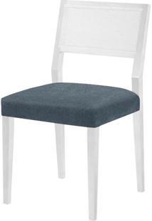 Cadeira Caiscais Assento Cor Azul Com Base Laca Branco Fosco - 46500 - Sun House