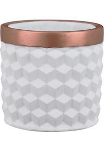 Kit Cachepot Mart Branco Em Cimento 3 Peças