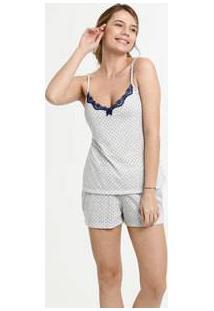 Pijama Feminino Estampa Bolinhas Alças Finas Marisa