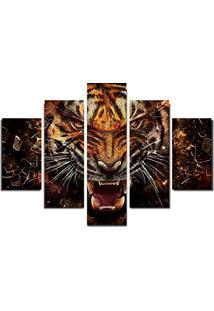 Quadro Painel Mosaico Decorativo 5 Partes Tigre Feroz