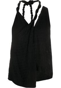 Nanushka Blusa Texturizada Com Torcido Na Gola - Preto