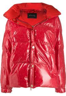 Goose Tech Patent Hooded Padded Coat - Vermelho