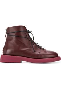Marsèll Ankle Boot Com Cadarço - Vermelho