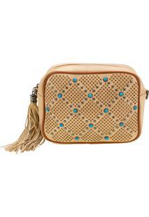 Bolsa Feminina Transversal Arara Dourada - Lt8148 Bege