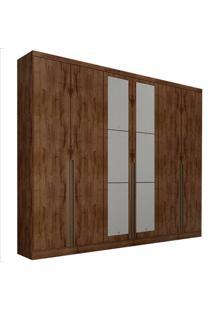 Guarda-Roupa Casal Com Espelho 6 Portas E Gavetas 6 Macau-Novo Horizonte - Canela