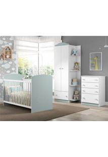 Quarto Infantil Completo João E Maria Multimóveis Branco/Azul Com Berço + Guarda Roupas + Cômoda Branco